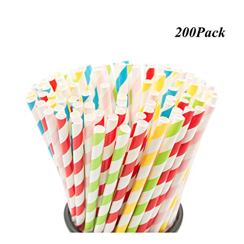 (200PCS Biodegradable Paper Straws Bulk, Assorted Rainbow Colors Striped Drinking Straws for Juice, Shakes, Cocktail, Coffee,Soda, Milkshakes, Smoothies,Celebration Parties and Arts Crafts Projects Pr)