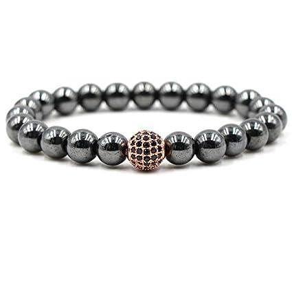 regarder 4b506 580d0 Amazon.com: Gabcus Mode Chaude Pave CZ Boule Hommes Bracelet ...