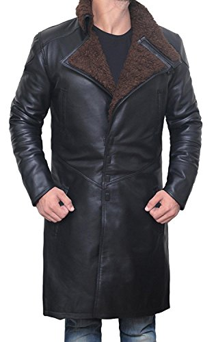 Decrum BladeRunner Black Long Trench Leather Mens Shearling Coat | PU Black, M by Decrum (Image #1)