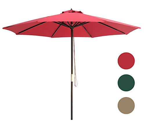 Frames Patio Umbrella (SUNBRANO 9 Ft Wood Frame Patio Umbrella Outdoor Garden Cafe Market Table Umbrella Pulley Lift with Air Vent, 8 ribs, Red)