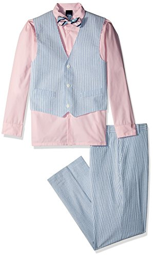 Izod boys 4-Piece Vest Set with Dress Shirt, Bow Tie, Pants, and Vest, Fairytale, 12