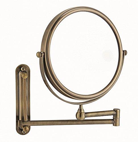 Kosmetikspiegel Wandmontage 20cm Messing 3x brüniert mit Schwenkarm Schminkspiegel rund 3x Messing Vergrößerung 8357a4