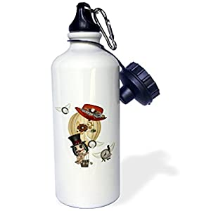 "3dRose ""Gothic Laveau Hot Air Balloon Steampunk Art"" Sports Water Bottle, 21 oz, White"