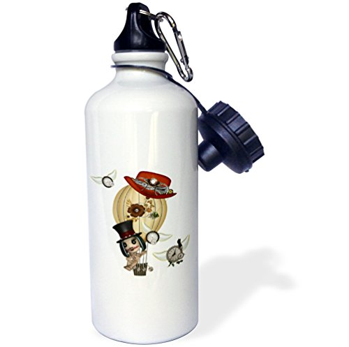 "3dRose wb_102668_1″Gothic Laveau Hot Air Balloon Steampunk Art"" Sports Water Bottle, 21 oz, White"