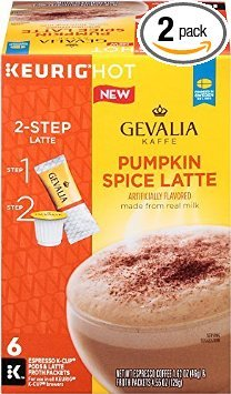 GEVALIA Pumpkin Spice Latte, Espresso K-CUP Pods and Latte Froth Packets, 6 Count (Pack of 2) -  COMINHKG088443