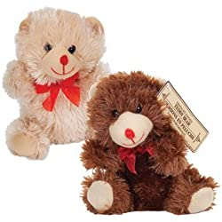 """Valentines Day 7"""" Plush Chocolate Scented Bears (Set of Two)"""