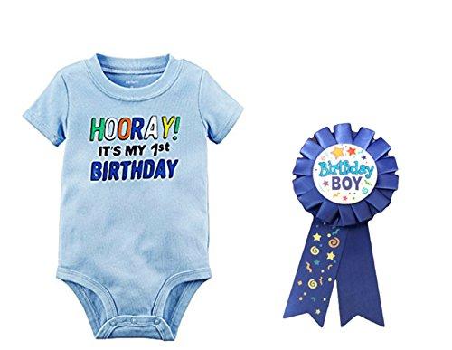 Custom Bundled Products Carter's Baby Boys Hooray It's My 1st Birthday Bodysuit Plus Birthday Boy Badge (18 Months)
