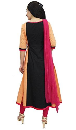 Atasi A Schwarz Ethnische Designer Damenbekleidung Pfirsich Line Stickerei amp; Baumwolle Kurti 4qOr4wU
