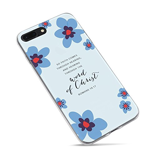 iPhone 8 Case Girls,iPhone 7 Case,Cute Flowers Floral Women Quotes Christian Bible Verses Inspirational Motivational Romans 10:17 Daisy Hearing Christ Soft Clear Side Case for iPhone 8/iPhone 7