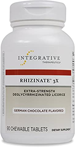 Integrative Therapeutics - Rhizinate 3X - Extra Strength DGL Licorice Extract for Digestive Relief - German Chocolate Flavor - 90 Chewable - 90 Chewable Tabs