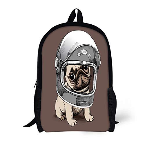 (Pinbeam Backpack Travel Daypack Brown Adorable Puppy Pug in Racer Helmet Animal Waterproof School)