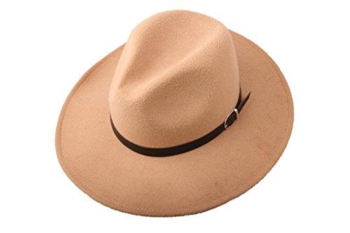 Prefe Women Wide Brim Vintage Wool Jazz Hat Panama Hat with Belt (Beige, One (Flat Brim Wool Felt Hat)