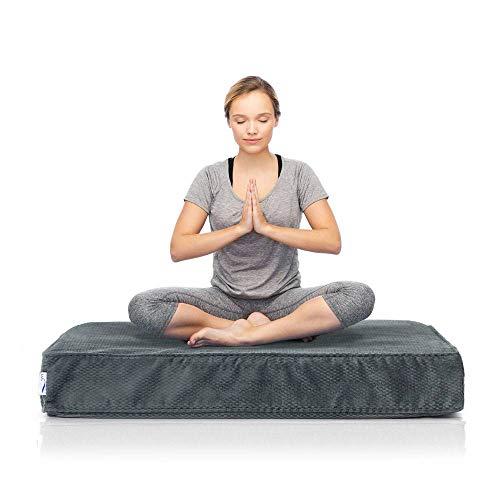 eLuxurySupply Square Meditation Cushion - Plush Foam Seat for Kids or Adults - Floor Reading, Meditation, Sitting or Yoga - 2 Sizes, 3 Colors Available