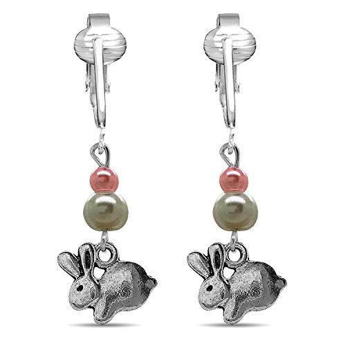 Designer Easter Clip Earrings for Women w Unpierced Ears, Lampwork Glass Dangle Easter Eggs & Jellybeans (Silver Bunny Dangle)