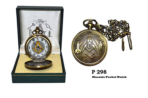Freemason Antique-Styled Brass Finish Pocket Watch With Masonic Symbols (Face Pocket Watch Timepiece)
