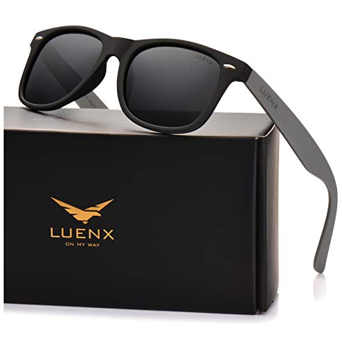 LUENX Mens Polarized Sunglasses Womens UV 400 Protection Classic Black Lens Matte Mix Black & Grey Frame 54MM with Case