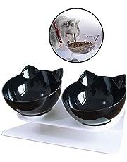 Linseray? Miska dla kotów z podwyższonym stojakiem, 15¡ããã nachylone karmniki dla kotów i miski na wodę zdejmowana miska dla zwierząt domowych dla kotów i małych psów