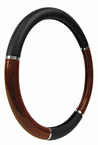 Custom Accessories 35710P Black Steering Wheel Cover with Woodgrain Design and Chrome Trim