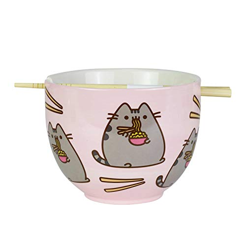 Enesco 6004629 Pusheen by Our Name is Mud Ramen Bowl and Chopsticks Set 4