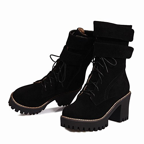 Mee Shoes Damen Reißverschluss chunky heels Plateau Stiefel Schwarz