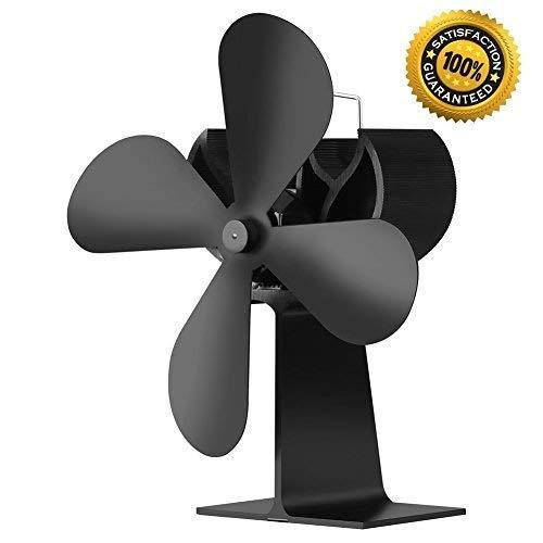 Longshow Heat Powered Stove Fan Fireplace Fan- Whisper Quiet Fireplace Wood Burning Eco Fan for Efficient Heat Distribution