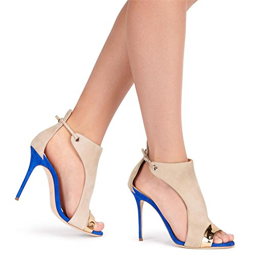 Mujer Sexy Tobillo Correa Señoras Mirar furtivamente Dedo del pie Estilete Alto Tacón Fregar Hebilla Azul Sandalias Zapatos Blue