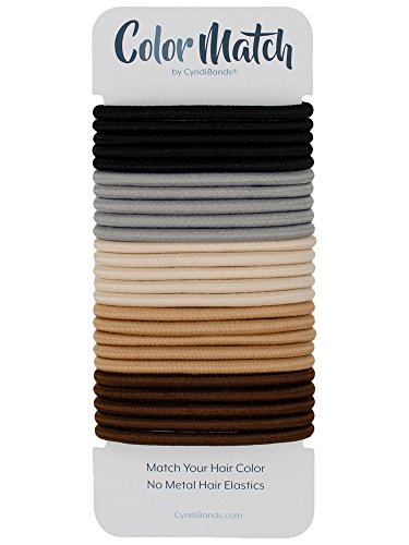Color Match by Cyndibands No-Metal 4mm Elastic Hair Ties (Mixed Colors) - 24 Count (Classic Neutrals) (Hair Color Match)
