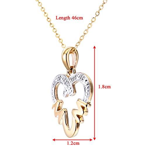 Revoni Bague en or jaune 9carats-Diamond-Collier Femme-Pendentif avec chaîne 46cm