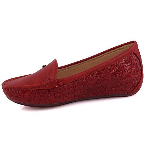 Unze Damen Damen Zini Komfortable Flache Schuhe Slipper Moccasins Pumps Schuhe Größe 3-8 - MT81732 Rot