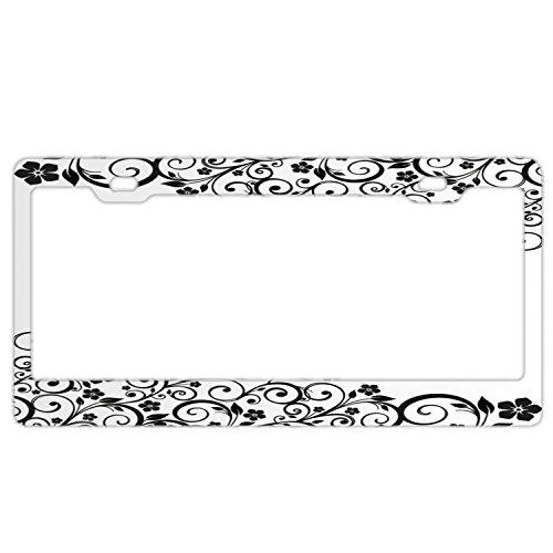 - Black Floral Custom Metal License Plate Frame for Women Tag Holder Stainless Steel Car Tag Frame Funny