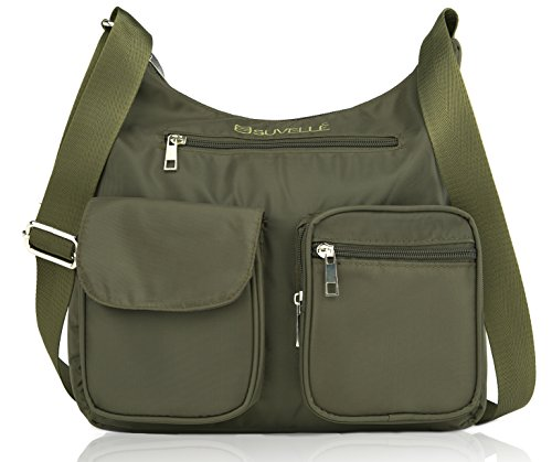 Lightweight Verde Suvelle Shoulder Multi RFID Carryall Blocking Protection Bag Travel BA10 Crossbody Pocket Handbag 6waTdqwO