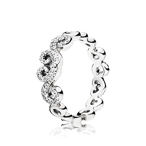 Pandora Ring 197117CZ-52 woman silver Heart Swirls -