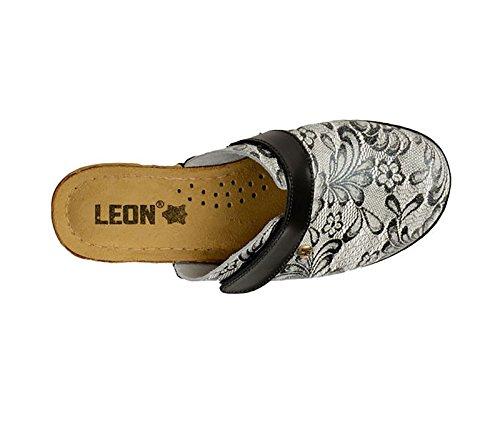 Leon 1003 Comfort In Pelle Scarpe Muli Zoccoli Signore, Nero, Eu 41
