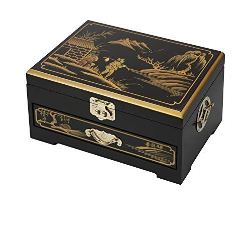 Surely Oriental Wood Jewelry Box/Case/Storage with Black Lacquer by Hand Painted