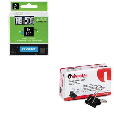 KITDYM45800UNV10200 - Value Kit - Dymo D1 Standard Tape Cartridge for Dymo Label Makers (DYM45800) and Universal Small Binder Clips (UNV10200)