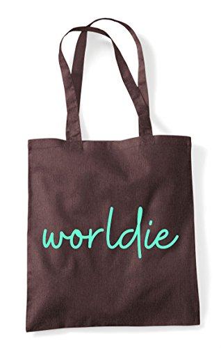 Bag Brown Worldie Shopper Hashtag Quote Statement Tote 8x0076Iq