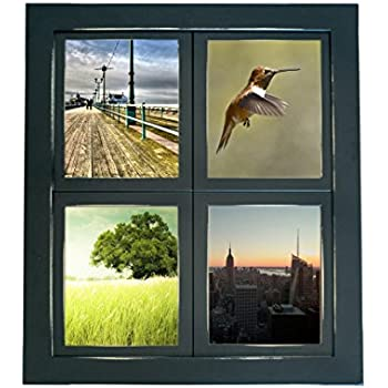 mybarnwoodframes lightly distressed collage windowpane 4 opening 5x7 picture frame black made - Window Pane Picture Frame
