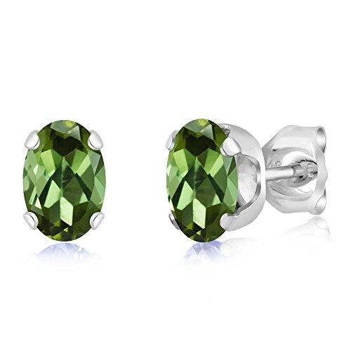 Gem Stone King 0.80 Ct Oval Shape Green Tourmaline Sterling Silver Stud Earrings