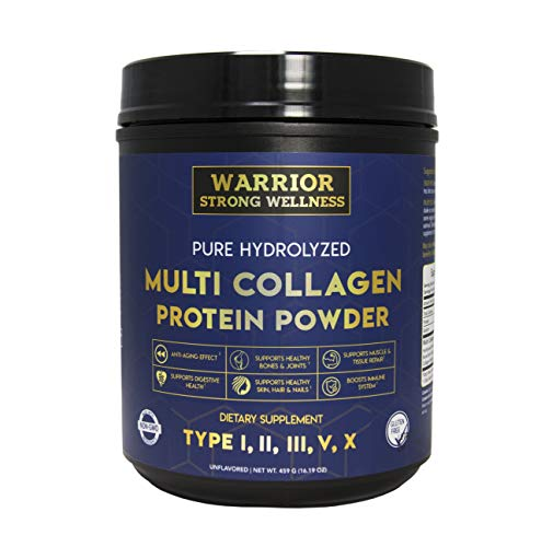 (Pure Hydrolyzed Multi-Collagen Protein Powder by Warrior Strong Wellness-High Quality Blend of Grass Fed Beef, Cage Free Chicken, Wild Fish & Eggshell, Keto Friendly- Providing Type I,II,III,V)