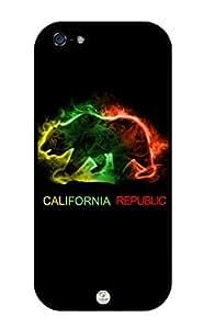 iZERCASE Rasta California Republic Bear Reggae iPhone 5 / iPhone 5S case - Fits T-Mobile, AT&T, Sprint, Verizon and International iphone 5, iPhone 5S