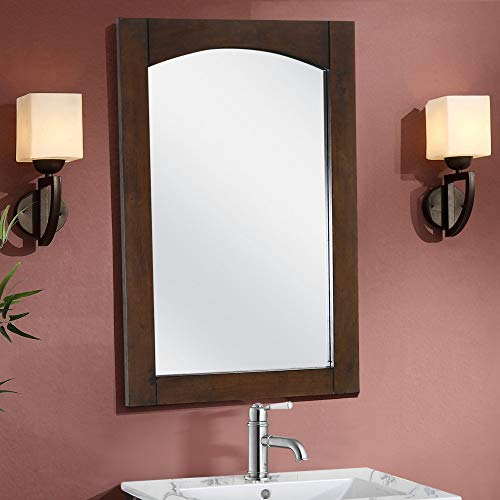 Svitlife Contemporary 24-inch Arched-top Satin-Finished Wood Framed Mirror - Brown Mirror Wood Wall Framed Ornate Frames Antique West Embossed