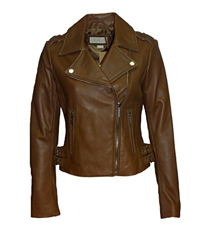 (Michael Kors Dark Camel Moto Leather Jacket-Dark Camel-S)