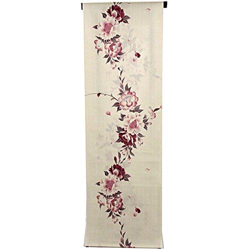 紀元前着服マルコポーロ浴衣反物 レディース -106- 綿麻 手芸染 ベージュ 桜 日本製