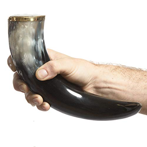 AleHorn – The Original Handcrafted Authentic Viking Drinking Horn for Beer, Mead, Ale – Medieval Inspired – Food Safe Vessel - Curved Style with Stand (20'' 4PK, Polished Horn) by AleHorn (Image #3)