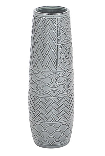 Deco 79 59947 Cylindrical Ceramic Vase with Embossed Patterns, 16