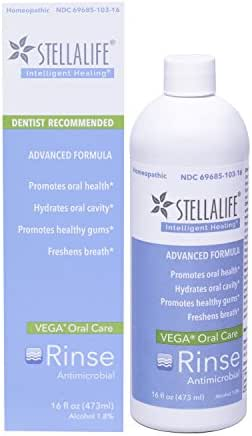 StellaLife VEGA Oral Rinse: Dry Mouth Mouthwash, Natural Daily Dental Hygiene for Healthy Gums, Fresh Breath, Mint Taste, Gluten Free, Antimicrobial, Xylitol, Advanced Healing After Dental Procedures