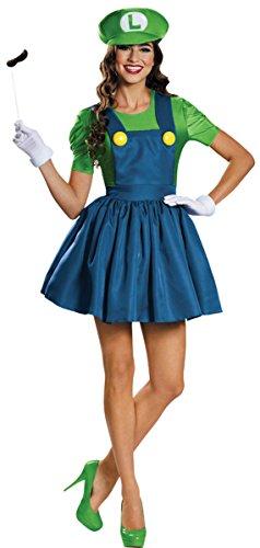 Disguise Women's Luigi Skirt Version Adult Costume, (Luigi Halloween Costume Ideas)