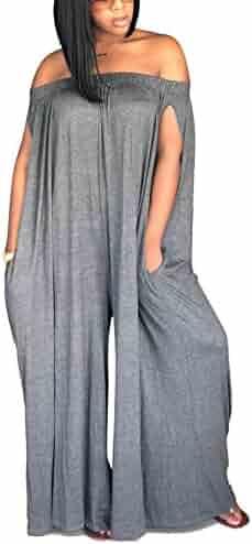 56b82ca4cc8d LKOUS Women s Summer Casual Off Shoulder Loose Wide Leg Long Pants Jumpsuits  One Piece Romper Overalls