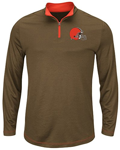 Base Sweatshirt Therma (Majestic Cleveland Browns NFL Mens Therma Base 1/4 Zip Fleece Big & Tall Sizes (3XT))