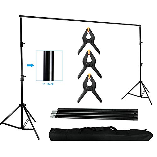 MOUNTDOG Phtography Background Stand 10ft Backdrop Support System Kit Photo Video Studio Adjustable Heavy Duty with Crrying Bag